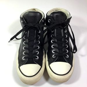 Converse All Star Black Leather High Tops 9